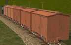 "String of 30"" gauge boxcars, with 5 random textures (shown)"